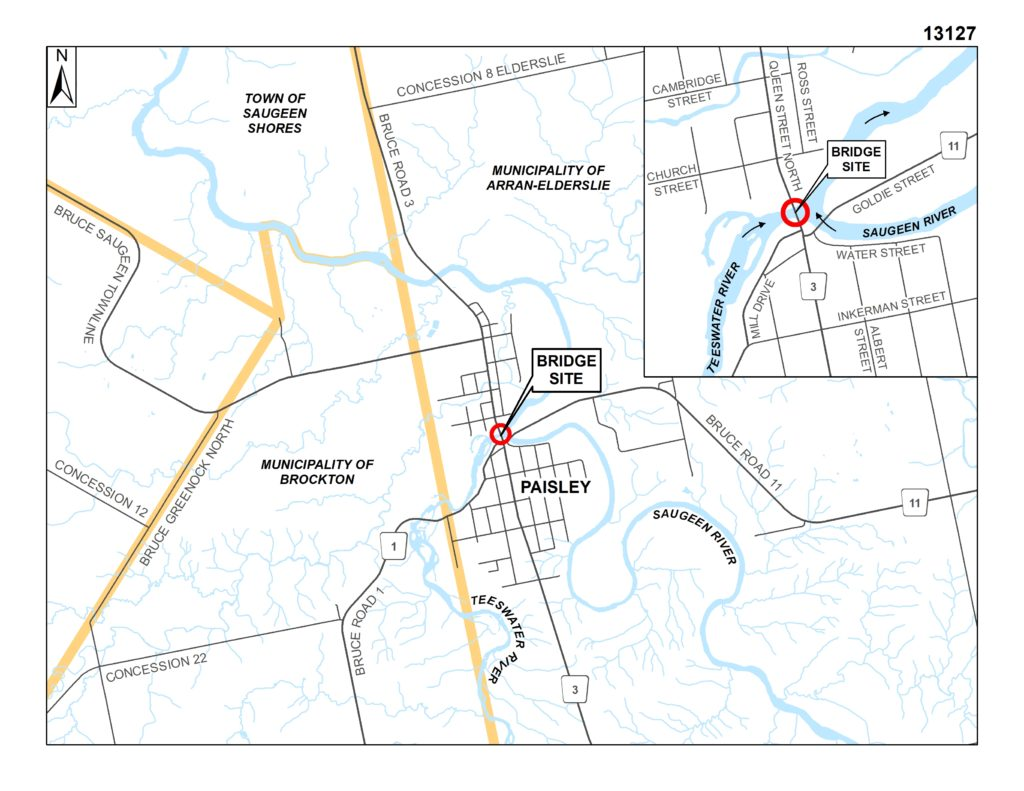 Map illustrating the location of the bridge located on Bruce Road 3 between Mill Drive and Church Street