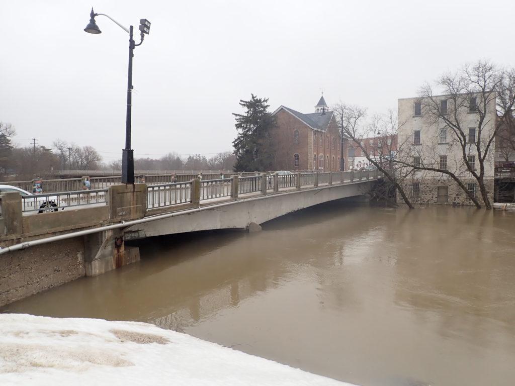 Teeswater River Bridge photo of spring flooding